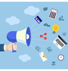 Digital marketing concept with megaphone vector