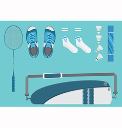Badminton equipments flat graphic vector image