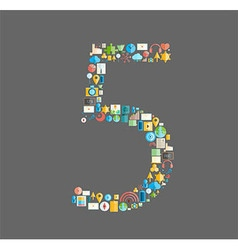 Five number social network with media icons vector image