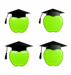 Apple in graduation cap vector