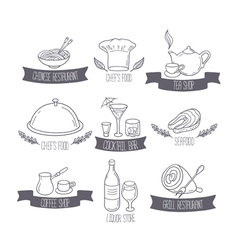 Hand drawn food and drinks labels templates for vector