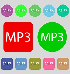 Mp3 music format sign icon musical symbol 12 vector