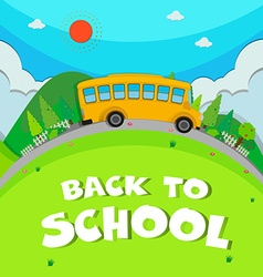 Schoolbus riding on the road vector image