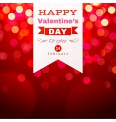 Valentines day type design over red bokeh vector