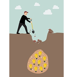 Businessman digging a ground to find an idea vector
