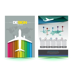 Airplane brochure template design vector