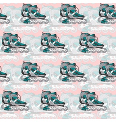 Seamless pattern with roller skates on a pink vector