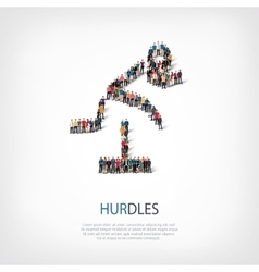 People sports hurdles vector