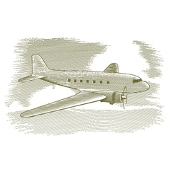 Woodcut vintage airplane vector