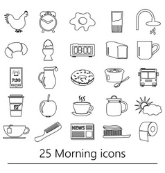 Morning wake up theme black outline icons set vector