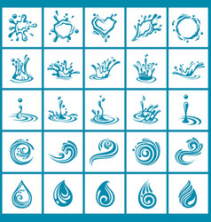 abstract water icons set vector image vector image