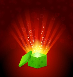 beautiful magic light shining from a green gift vector image vector image