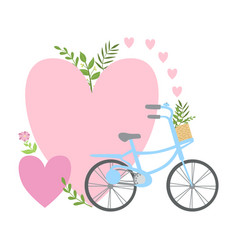 Bicycle and two pink hearts and plants template vector