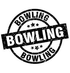 Bowling round grunge black stamp vector