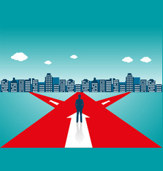 businessman standing on the road vector image vector image