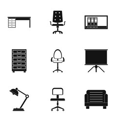 cabinet furniture icons set simple style vector image vector image