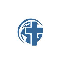christian cross global vector image