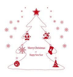 Christmas toys red on the tree vector image