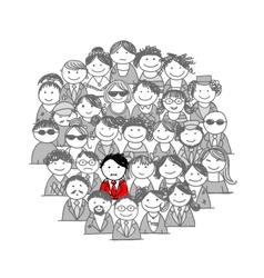 Crowd of people sketch for your design vector image vector image