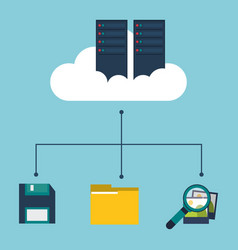 Data center cloud floppy folder search picture vector