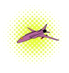 Fighter aircraft icon comics style vector image
