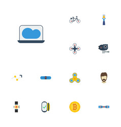 Flat icons bluetooth speaker stick arrow and vector