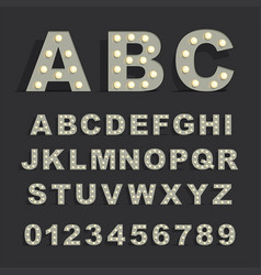font with lamps on black background vector image