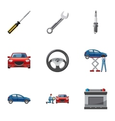 Garage icons set cartoon style vector