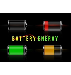 Glossy transparent battery level indicator vector image