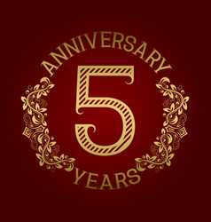 golden emblem of fifth anniversary vector image