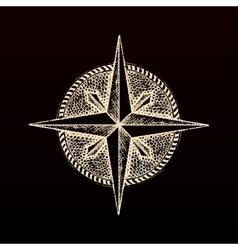 Hand drawn compass wind rose symbol vector