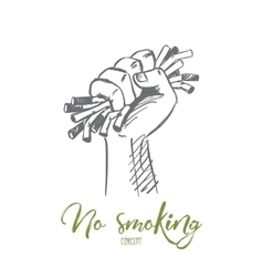 Hand drawn useless cigarettes in human palm vector image vector image