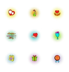 Happy mothers day icons set pop-art style vector