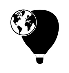 hot air balloon and earth globe icon vector image vector image
