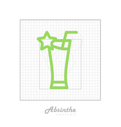 Icon of cocktail with modular grid absinthe vector