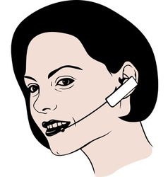 Lady talking on headphone vector image vector image