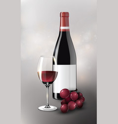 realistic red wine poster vector image