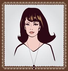 retro style girl face vector image