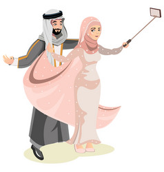 selfie happy muslim arabic family vector image