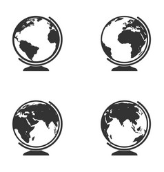 set of globe icon earth symbol collection vector image vector image