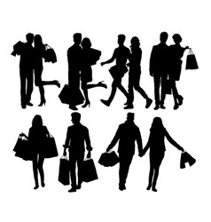 Shopping couples silhouettes vector