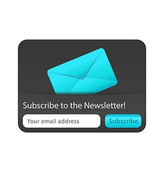 Subscribe to newsletter web form with blue letter vector image