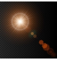 Summer sun with realistic lens flare lights and vector image vector image