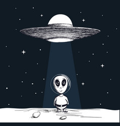 The arrival of an alien from ufo vector
