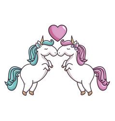two unicorns in love vector image