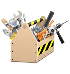 Wooden Box with Tools vector image vector image