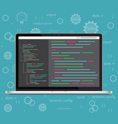 Laptop coding concept web developer vector