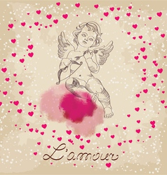 Valentines day amour with little pink hearts vector