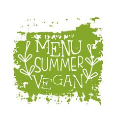Menu summer vegan green label vector