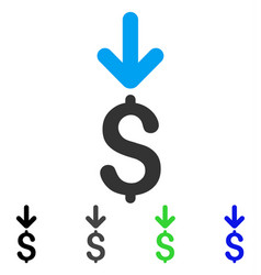 Income dollar flat icon vector